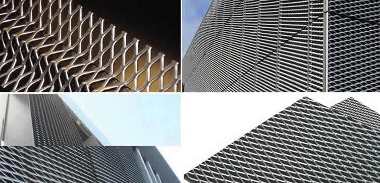 Diamond Plate Sheets >> Steel, Aluminum or Copper Expanded Architectural Mesh for Cladding Panels of Ceiling, Walls and ...